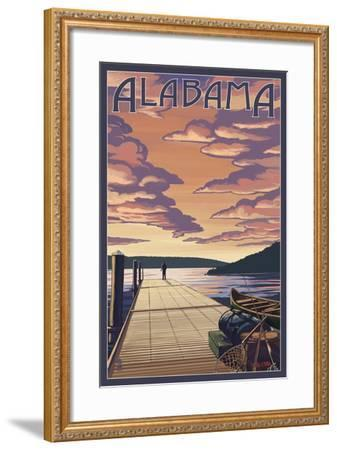 Alabama - Dock Scene and Lake-Lantern Press-Framed Art Print