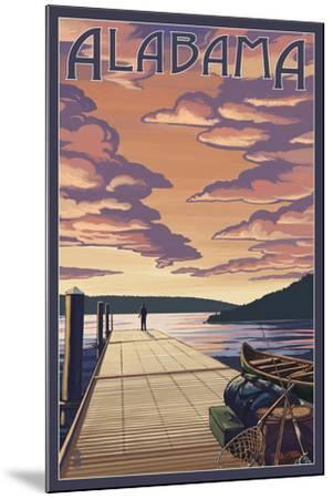 Alabama - Dock Scene and Lake-Lantern Press-Mounted Art Print