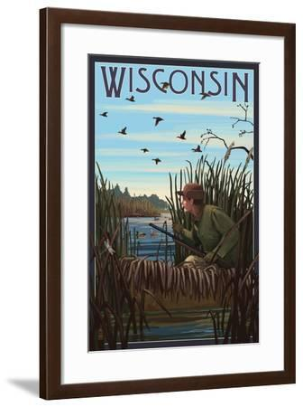 Wisconsin - Hunter and Lake-Lantern Press-Framed Art Print