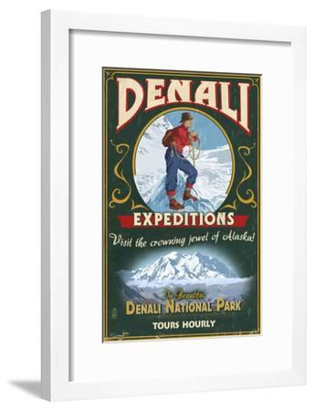 Denali National Park, Alaska - Denali Climbers Vintage Sign-Lantern Press-Framed Art Print