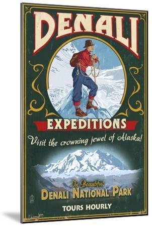 Denali National Park, Alaska - Denali Climbers Vintage Sign-Lantern Press-Mounted Art Print