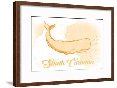 South Carolina - Whale - Yellow - Coastal Icon-Lantern Press-Framed Art Print