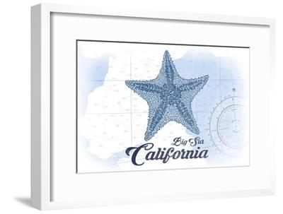Big Sur, California - Starfish - Blue - Coastal Icon-Lantern Press-Framed Art Print