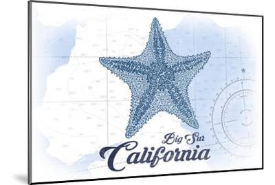 Big Sur, California - Starfish - Blue - Coastal Icon-Lantern Press-Mounted Art Print