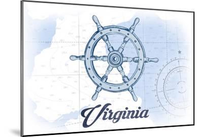 Virginia - Ship Wheel - Blue - Coastal Icon-Lantern Press-Mounted Art Print
