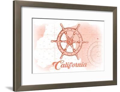 California - Ship Wheel - Coral - Coastal Icon-Lantern Press-Framed Art Print
