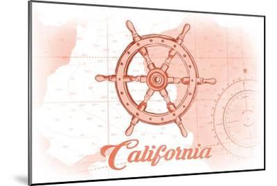California - Ship Wheel - Coral - Coastal Icon-Lantern Press-Mounted Art Print