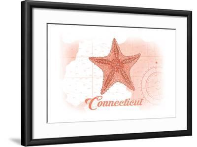Connecticut - Starfish - Coral - Coastal Icon-Lantern Press-Framed Art Print