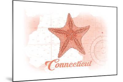 Connecticut - Starfish - Coral - Coastal Icon-Lantern Press-Mounted Art Print