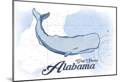 Gulf Shores, Alabama - Whale - Blue - Coastal Icon-Lantern Press-Mounted Art Print