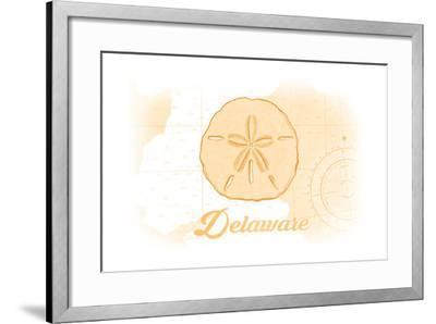 Delaware - Sand Dollar - Yellow - Coastal Icon-Lantern Press-Framed Art Print
