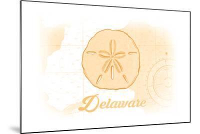 Delaware - Sand Dollar - Yellow - Coastal Icon-Lantern Press-Mounted Art Print