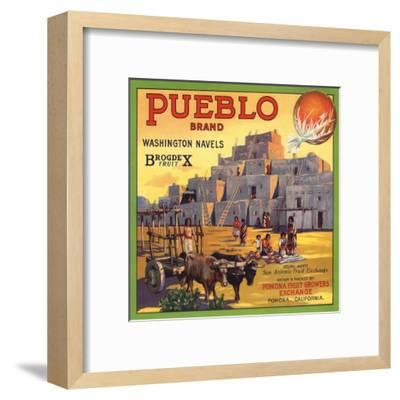 Pueblo Brand - Upland, California - Citrus Crate Label-Lantern Press-Framed Art Print