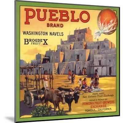 Pueblo Brand - Upland, California - Citrus Crate Label-Lantern Press-Mounted Art Print