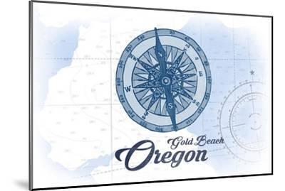 Gold Beach, Oregon - Compass - Blue - Coastal Icon-Lantern Press-Mounted Art Print