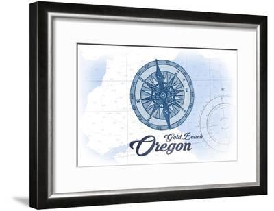 Gold Beach, Oregon - Compass - Blue - Coastal Icon-Lantern Press-Framed Art Print