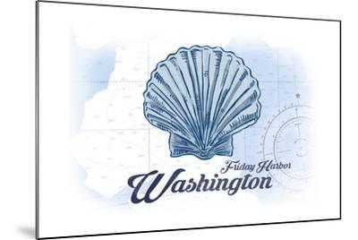 Friday Harbor, Washington - Scallop Shell - Blue - Coastal Icon-Lantern Press-Mounted Art Print