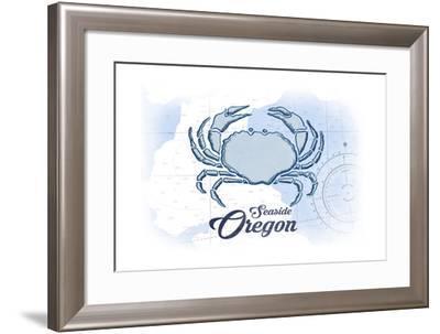 Seaside, Oregon - Crab - Blue - Coastal Icon-Lantern Press-Framed Art Print
