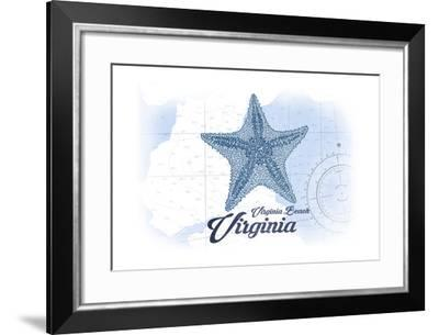 Virginia Beach, Virginia - Starfish - Blue - Coastal Icon-Lantern Press-Framed Art Print