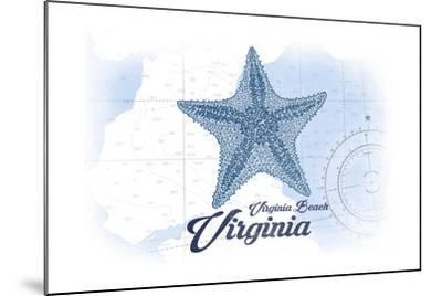 Virginia Beach, Virginia - Starfish - Blue - Coastal Icon-Lantern Press-Mounted Art Print