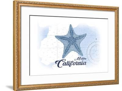Malibu, California - Starfish - Blue - Coastal Icon-Lantern Press-Framed Art Print