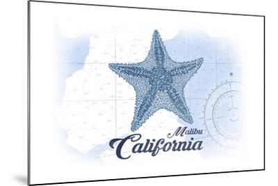Malibu, California - Starfish - Blue - Coastal Icon-Lantern Press-Mounted Art Print
