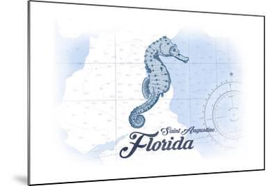 Saint Augustine, Florida - Seahorse - Blue - Coastal Icon-Lantern Press-Mounted Art Print