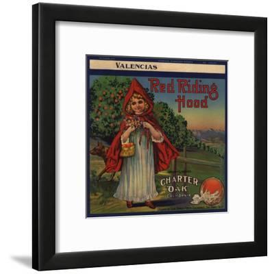 Red Riding Hood Brand - Charter Oak, California - Citrus Crate Label-Lantern Press-Framed Art Print