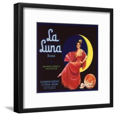 La Luna Brand - Garden Grove, California - Citrus Crate Label-Lantern Press-Framed Art Print