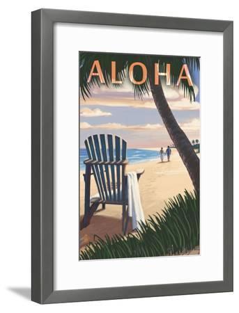 Adirondack Chairs and Sunset - Aloha-Lantern Press-Framed Art Print