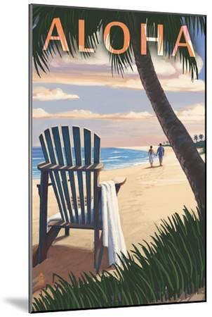 Adirondack Chairs and Sunset - Aloha-Lantern Press-Mounted Art Print