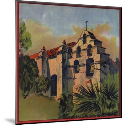 Mission Church Ruins - Citrus Crate Label-Lantern Press-Mounted Art Print