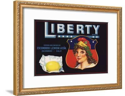 Liberty Brand - Escondido, California - Citrus Crate Label-Lantern Press-Framed Art Print
