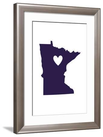 Minnesota - State Outline and Heart-Lantern Press-Framed Art Print
