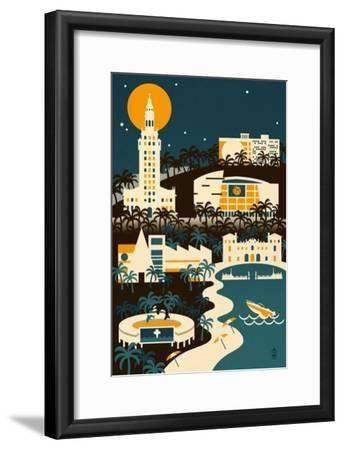 Miami, Florida - Retro Skyline (no text)-Lantern Press-Framed Art Print