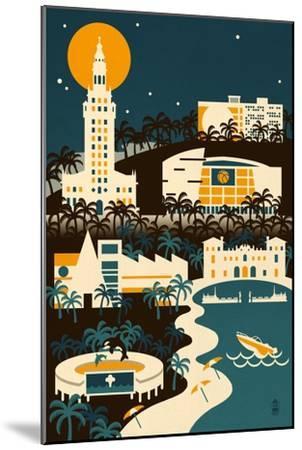 Miami, Florida - Retro Skyline (no text)-Lantern Press-Mounted Art Print