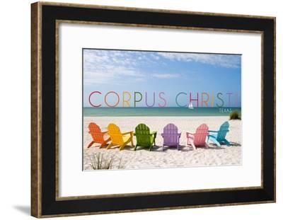 Corpus Christi, Texas - Colorful Beach Chairs-Lantern Press-Framed Art Print