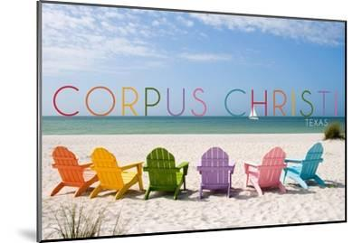 Corpus Christi, Texas - Colorful Beach Chairs-Lantern Press-Mounted Art Print