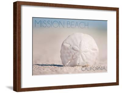 Mission Beach, California - Sand Dollar and Beach-Lantern Press-Framed Art Print