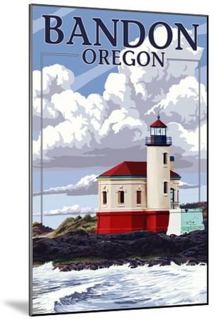 Bandon, Oregon - Coquille River Lighthouse (Version 2)-Lantern Press-Mounted Art Print