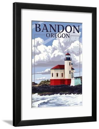 Bandon, Oregon - Coquille River Lighthouse (Version 2)-Lantern Press-Framed Art Print