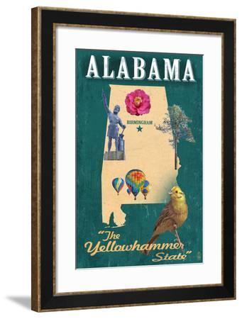 Birmingham, Alabama - State Icons-Lantern Press-Framed Art Print