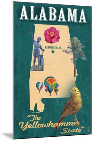 Birmingham, Alabama - State Icons-Lantern Press-Mounted Art Print