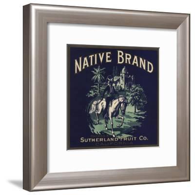 Native Brand - California - Citrus Crate Label-Lantern Press-Framed Art Print