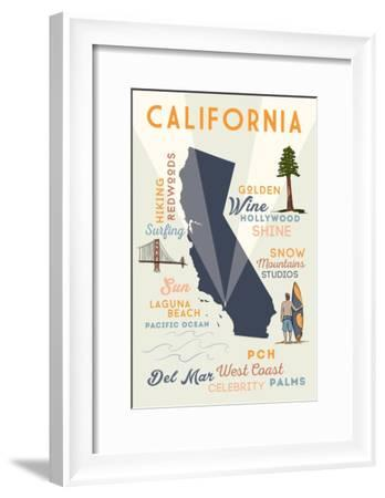 Del Mar, California - Typography and Icons-Lantern Press-Framed Art Print