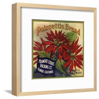 Poinsettia Brand - Fillmore, California - Citrus Crate Label-Lantern Press-Framed Art Print