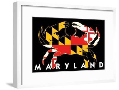 Maryland - Crab Flag (Black with White Text)-Lantern Press-Framed Art Print