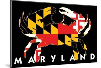 Maryland - Crab Flag (Black with White Text)-Lantern Press-Mounted Art Print