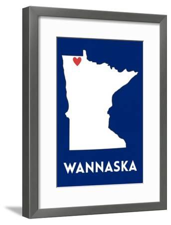 Wannaska, Minnesota - Home State - White on Blue-Lantern Press-Framed Art Print