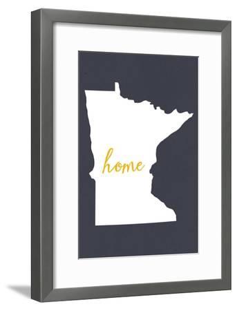 Minnesota - Home State - White on Gray-Lantern Press-Framed Art Print